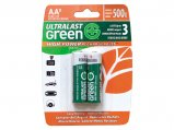 Rechargeable Battery, Type:AA Green Hi-Power 2 Pack