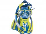 Mask/Snorkel/Fins Set, Rocks Youth Blue Small Medium