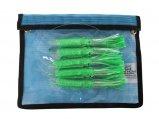Lure,Squid Chain, Sen Sqd 6 Fluorescent Green with Holo Fleck