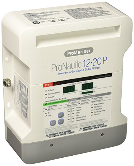 Battery Charger, 12V 20A 100/260V 3 Bank ProNautc-P 12