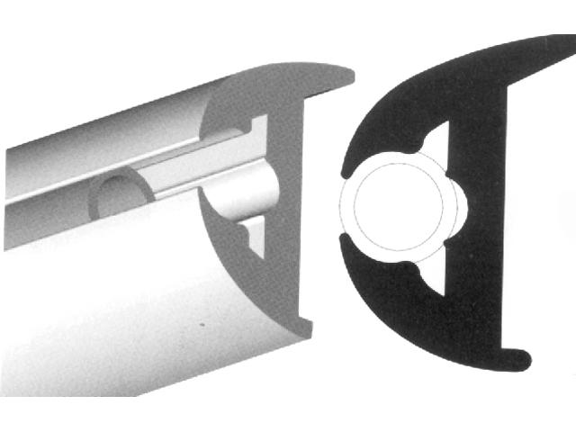 Rubrail only, Flexible Vinyl Bk 1-7/8