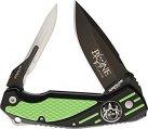 Knife, Double Folding Blade Black Green